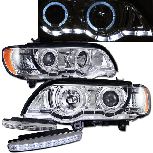 Bmw X5 Dual Halo Projector Headlights Led Strip + 8 Led Fog Bumper Light