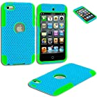myLife (TM) Sky Blue + Lime Green Slim (Full Body Mesh) for Apple iPod Touch 4/4S (4G) 4th Generation iTouch Soft Gel Silicone Protective Tough Case Sealed Inside myLife (TM) Packaging ONLY {Ultra Durability Guarantee + 2 Piece Armor Commuter}