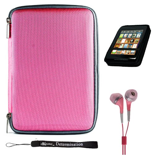 "Pink Slim Stylish Hard Cover Nylon Protective Carrying Case Folio for Pandigital Novel 7"" Color Multimedia eReader + Indlues a 4-Inch Determination Hand Strap + Includes a Crystal Clear High Quality HD Noise Filter Ear buds Earphones Headphones ( 3.5mm Jack )"
