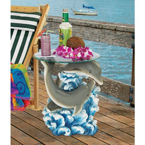 Design Toscano EU1056 Dolphin Cove Glass-Topped Sculptural Table photo