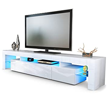 TV Board Lowboard Lima V2 in Weiß / Weiß Hochglanz