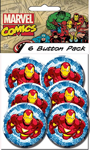 "C&D Visionary Invincible Iron Man Blue 1.5"" Button (6-Piece)"