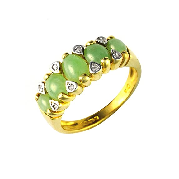 Ivy Gems 9ct Yellow Gold Jade and Diamond Ring