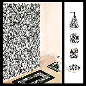 black and white zebra bathroom set 4 piece