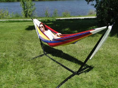 Double Mayan Hammock with Universal Stand – Hot Colors
