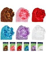Bundle Monster 6pc Baby Cap Crochet Beanie Flower Clip Mix Color Toddler Hat Set