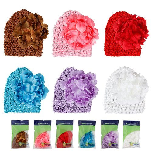 Bundle Monster 6pc Baby Cap Crochet Beanie Flower Clip Mix Color Toddler Hat Set