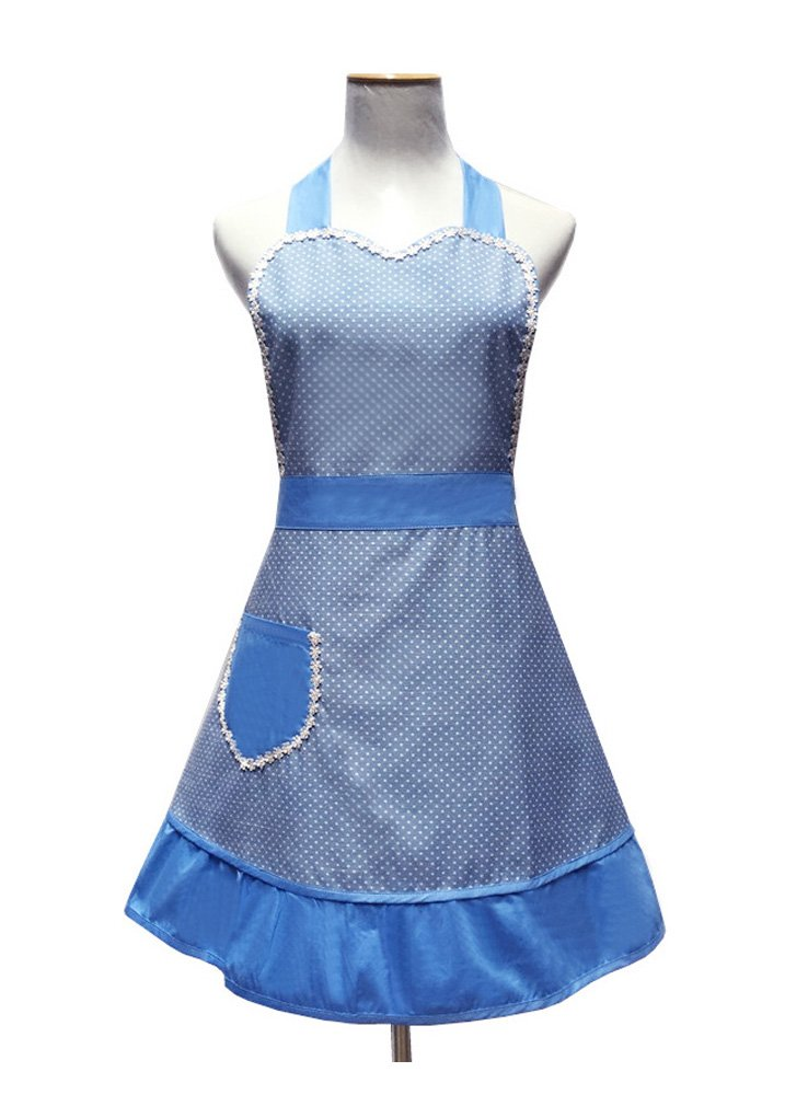 Cute White Dot Women Aprons Fashion for Girls Vintage Home Cooking Retro Beautiful Apron for Gift, Blue 1