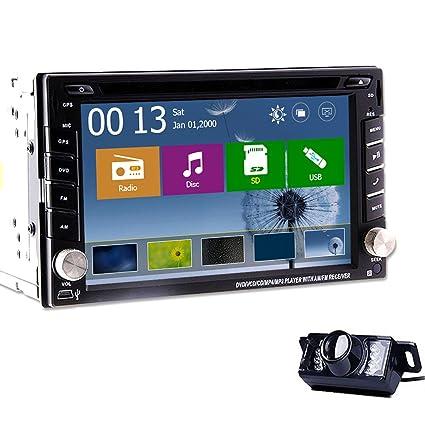HD: 800 * 480 6.2 pouces Double-DIN 2 En Dash DVD Player voiture šŠcran tactile LCD Moniteur de navigation GPS Win 8 UI Design Free Backup Inverser Parking LED camšŠra!