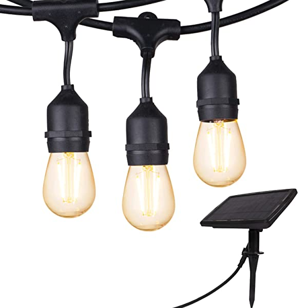 28 Ft. Solar String Lights Outdoor S14 Hanging Patio Lights with 12 Shatterproof Dimmable LED Bulbs, Auto on/Off for Outdoor Bistro Cafe Garden Backyard Balcony Porch Gazebo Decor (Color: Warm White_LED_Solar, Tamaño: 1 Pack)