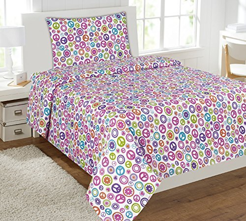 Mk Collection Sheet Set White Pink Purple Teel Green Peace Sign Teens/girls Multi Color Peace Circle New (Full) (Girls Sheets Full compare prices)