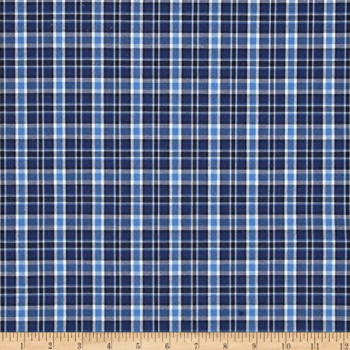 Poly/Cotton Uniform Plaid Navy/Blue/Black/White Fabric