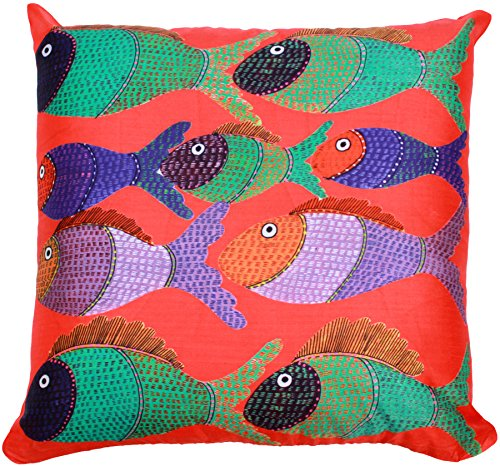 Fish in the Sun - 18 X 18 Inch Art Throw Pillow Cover - Very Unique Large Orange Colored Pillow Case for Couch, Sofa, Ottoman, Bedroom, Lounge Chair, Rocking Chairs - Summer Decor Ideas from SouvNear