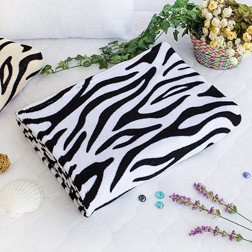 [Animal Zebra - White] Coral Fleece Throw Blanket (59.1 by 78.7 inches)