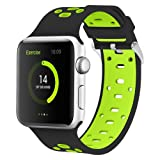 Apple Watch Silicone Band 42mm, iWatch Wristband Sports Fan Bracelet w/Ventilation Hole for Apple Watch Sports Series 3/Series 2/Series 1 Edtion iWatch Band Strap Stripe (42mm black/green) (Color: 42mm black/green, Tamaño: 42mm)