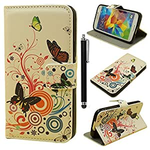 Galaxy S5 Flip Case,Samsung Galaxy S5 Cover,Samsung Galaxy S5 Wallet Case,Qbily Printed Flowers Blossom Butterfly PU Leather Cases Covers Scratch-Resistant Soft Inner Shell Back Cover Book Style Flip Case with Stand Magnetic Closure Buckle Credit ID Card Slot Pouch Painting Protective Carrying Case Cover for Smartphone Samsung Galaxy S5 SV i9600 with Anti-glare Clear Display Screen Protector Film and Black Stylus Pen