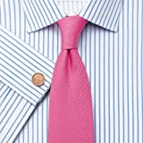Charles Tyrwhitt White and sky twill stripe non-iron slim fit shirt (Single Cuff)