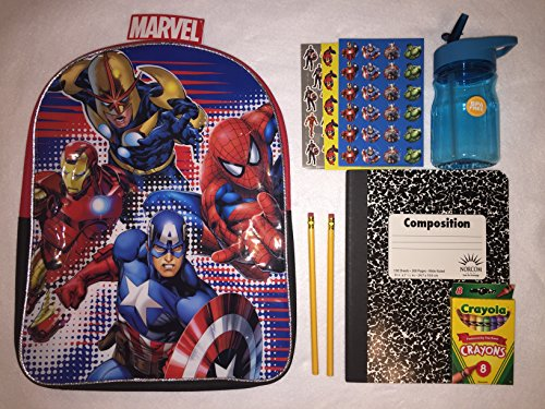 Avengers Kid's Backpack – 16″ inches – Back to School Bundle – Boys Marvel Travel Bag – K-12 – Superhero Gifts