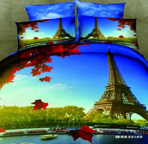 Queen King Size 100% Cotton 7-Pieces 3D Eiffel Tower Red Maple Leaf Blue Sky Prints Fitted Sheet Set With Rubber Around Duvet Cover Set/Bed Linens/Bed Sheet Sets/Bedclothes/Bedding Sets/Bed Sets/Bed Covers/ Comforters Sets Bed In A Bag (King) front-846615