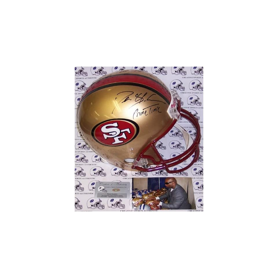 Deion Sanders Autographed Helmet   Full Size Riddell