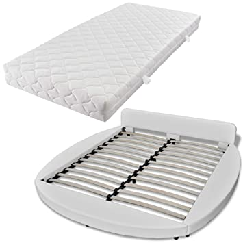 vidaXL Cama doble de cuero artificial redonda blanca con colchón, 180 cm