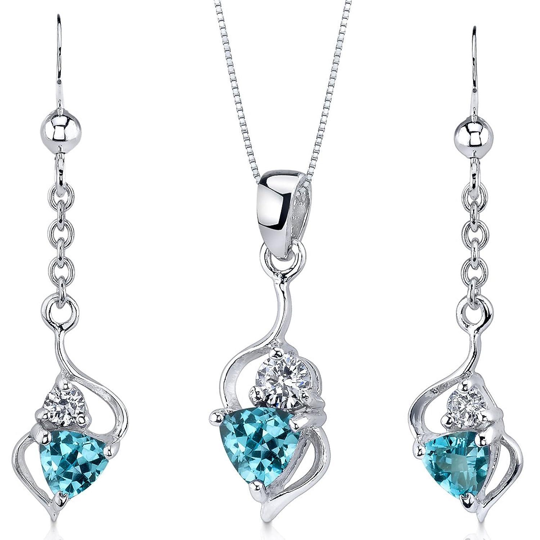 Revoni Damen Anhänger Ohrringe Schmuckset 925 Sterlingsilber Schweizer Blau Topas 1.75 Karat als Weihnachtsgeschenk kaufen