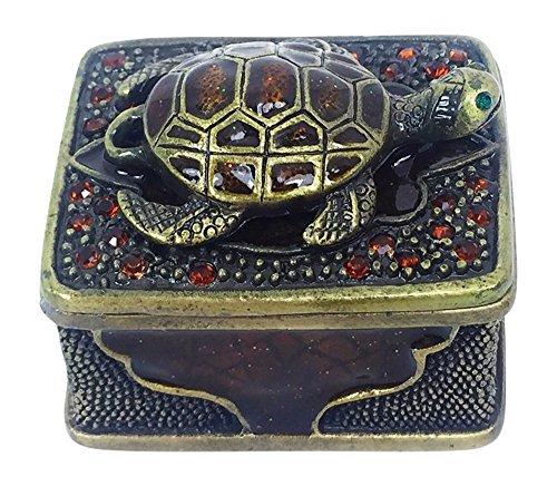 Sea Turtle Mini Pewter Trinket / Jewelry Box by Welforth Brass Color