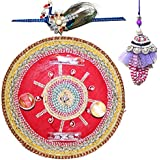 Handcrafted Ganesha Design Steel Pooja Thali Gift With Single Fancy Rakhi & Designer Lumba For Bhabhi For Rakhi... - B073RK5XK1