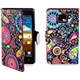 32nd® Design book wallet PU leather case cover for Samsung Galaxy S2 Sii i9100 + screen protector and cloth - Jellyfish