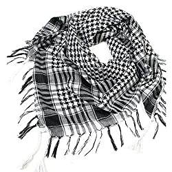 TRIXES Black & White Desert Shemagh Scarf Keffiyeh Lightweight Cotton Military Style Airsoft Re-enactment Army