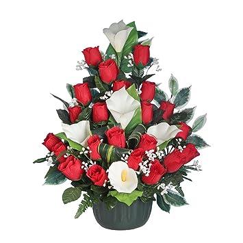 Ligne d co 481305wo fiori artificiali per cimitero vaso for Catalogo piante e fiori