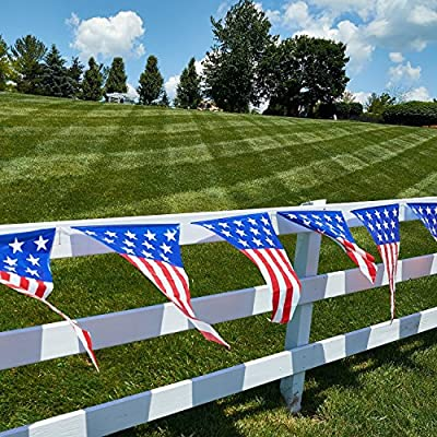 4th of July patriotic decorations party pack, includes a 24 feet stars and stripes banner, Patriotic American Flag Bunting 12 Ft. Long patriotic hanging swirl star shaped decorations! by Prextex