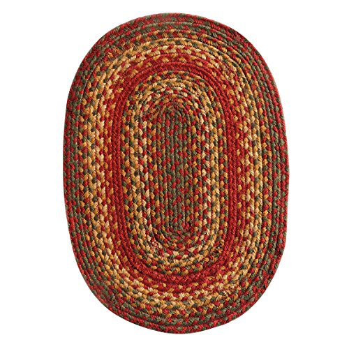 Homespice Oval Placemat Jute Braided Rugs, 13-Inch by 19-Inch, Cider Barn