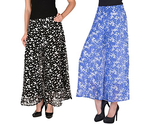 2DAYs-Women-Stylish-Palazzo-Sky-Blue-and-Multi-Roses-Print-Pack-of-2