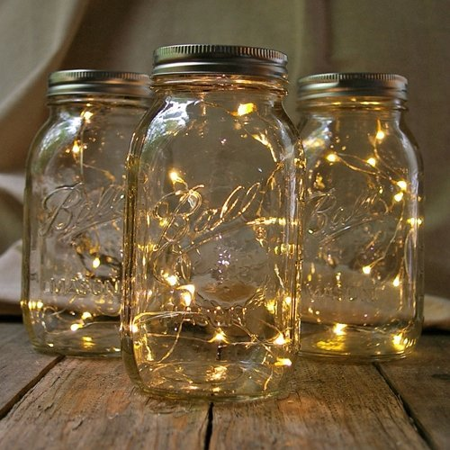 Quart Mason Jars With Warm White Fairy Lights, Set of 3 (Lighted Jars compare prices)