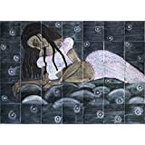 Charismatic Muralscape Wooden Mural: An Angel In The Clouds