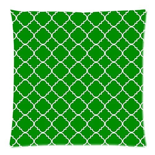 """Cool Quatrefoil Simple Green And White Classic Reticular Custom Zippered Pillow Case 20""""X20""""(Two Sides) front-1067670"""