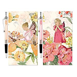 2015 SLIM POCKET WEEK TO VIEW HARDBACK DIARY WITH PEN YELLOW or PINK FLOWER FAIRY (price is for 1)