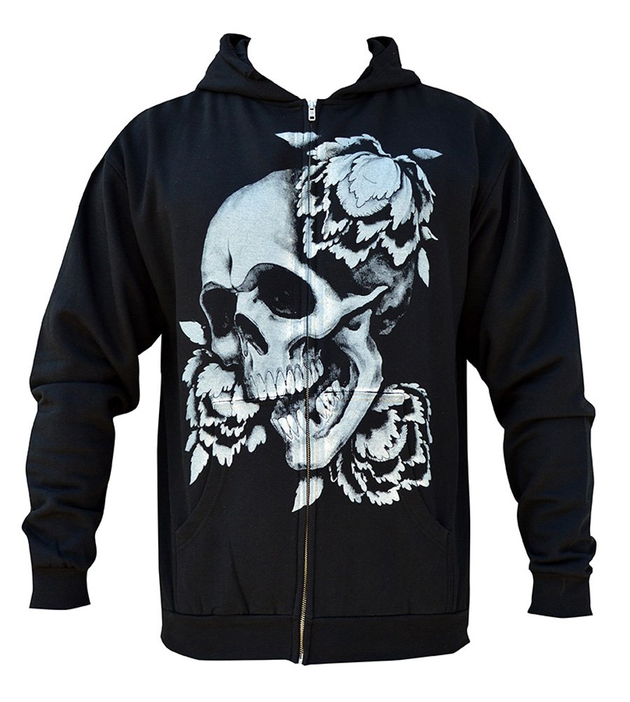 Mens Rebirth by Clark North Asian Style Artist Skull & Peony Flower Black Hoodie