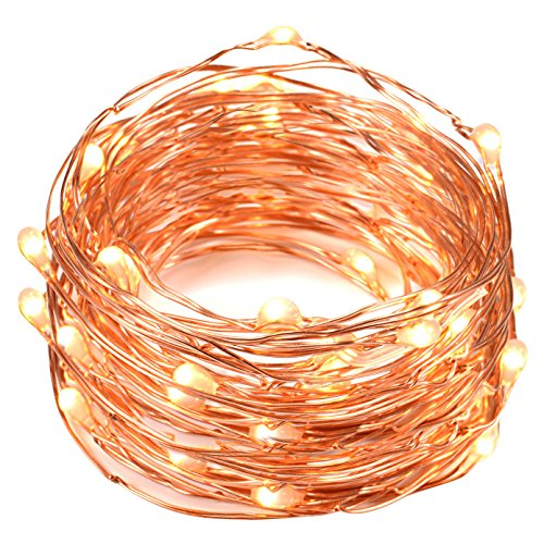 String Lights, Oak Leaf 2 Set of Micro 30 LEDs Super Bright Warm White Led Rope Lights Battery Operated on 9.8 Ft Long Ultra Thin String Copper For Christmas Home Bedroom Party Decoration (Lighting compare prices)