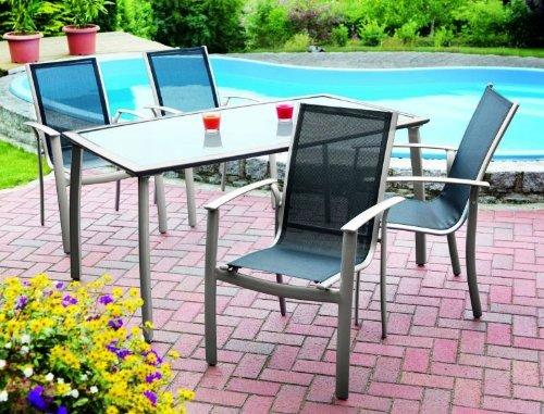 MERXX Alu-Gartenmöbel-Set, 5tlg. mit 4 Stapelsessel