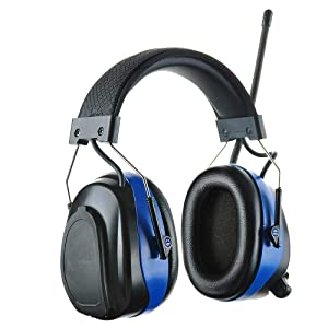 PROTEAR Bluetooth AM FM Radio headphones, NRR 25dB Noise Reduction Safety Ear Muffs, Ear Hearing Protection for Lawn Mowing Outside Work (Blue) (Color: Blue, Bluetooth with 3AAA Batteries)