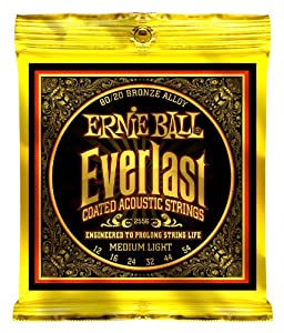 Ernie Ball 2556 Everlast Acoustic Guitar Strings 80/20 Bronze    Medium Light  12   54  available at Amazon for Rs.1549