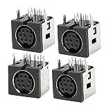 4 Pcs Metal Case S-video 8 Pin Female PCB Mount Mini Din Sockets