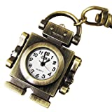 YouYouPifa Copper Robot Pendent Key Chain Ring Quartz Pocket Watch