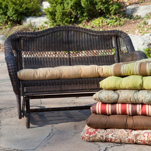 Coral Coast Coral Coast Casco Bay 42 X 19.5 Outdoor Cushion For Porch Swings And Gliders, Park Avenue Stripe Spice, All Other Materials front-236289
