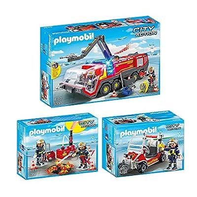 PLAYMOBIL® City Action 3er Set 5337 5397 5398 Flughafenlöschfahrzeug, Brandeinsatz mit Löschpumpe & Feuerwehrkart