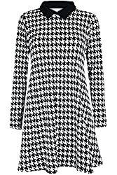 Womens Ladies Dog Tooth Printed Contrast Collared Stretch Stretchy Long Sleeve Tunic Swing Dress by Oop Outlet