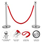 Mefeir 2 PCS Queue Pole Stanchion, Crowd Control Barrier, Security Fence Stainless Steel Ball Top Retractable Belt Posts/Red Velvet Rope VIP Silver (Color: Silver With Ball Top)