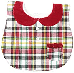 Mud Pie Baby-Girls Tartan Bib, Red, 12M